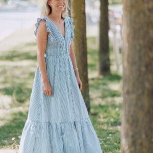 Gestreepte maxi jurk Self Portrait Iconic Wardrobe